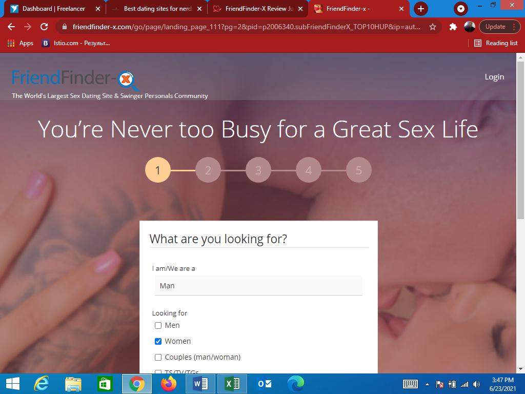 FriendFinder-X main page