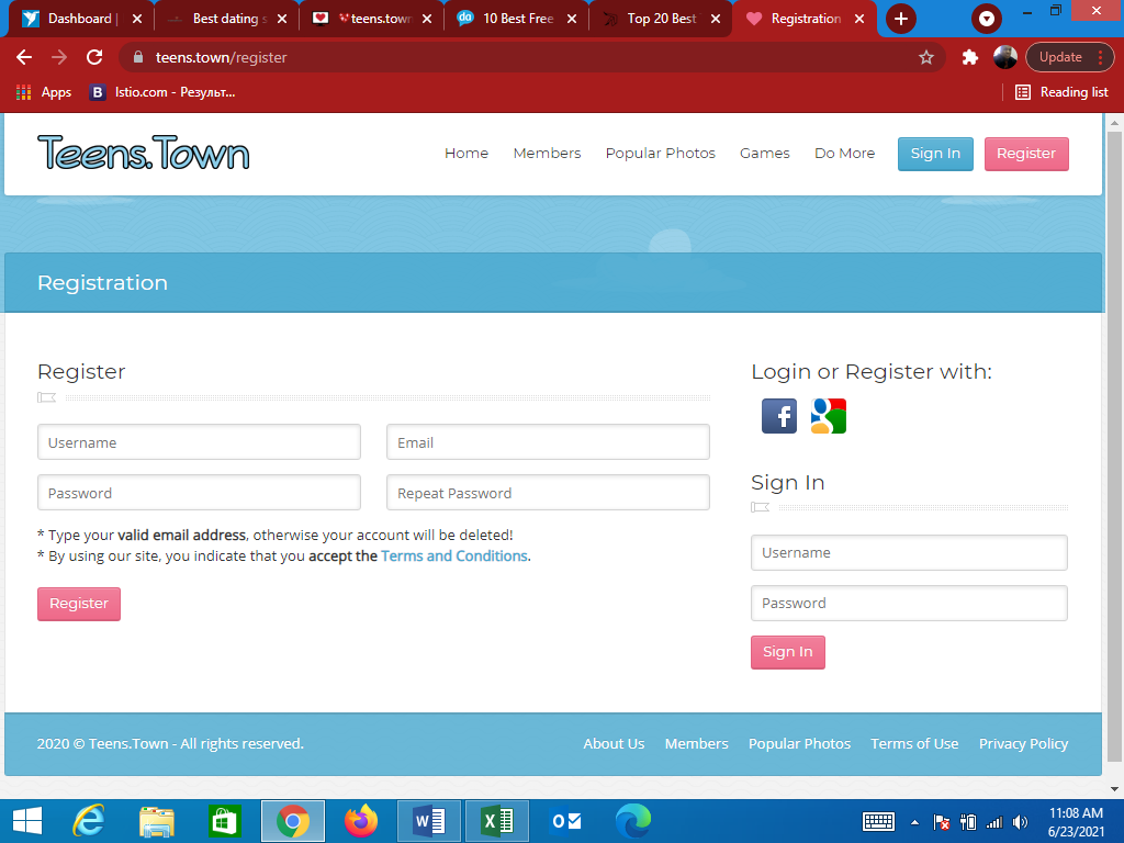 Teens Town main page